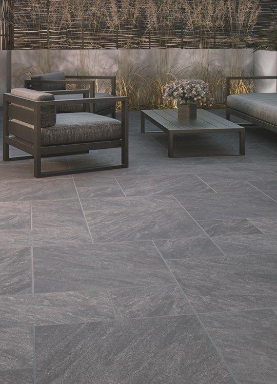 Aspero porcelain paving in Dark Grey | Slate patio, Patio garden .