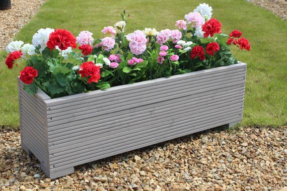 1 Metre Large Wooden Garden Trough Planter In Decking Painted | Et