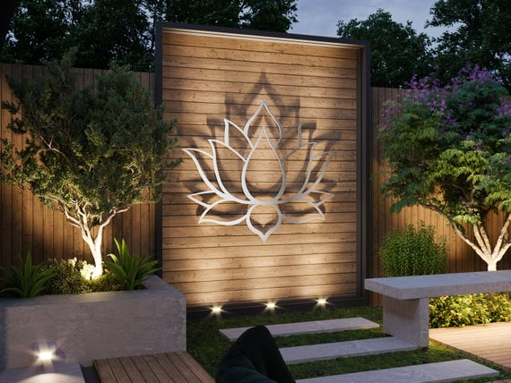 Lotus Flower Large Outdoor Metal Wall Art Garden Sculpture | Et