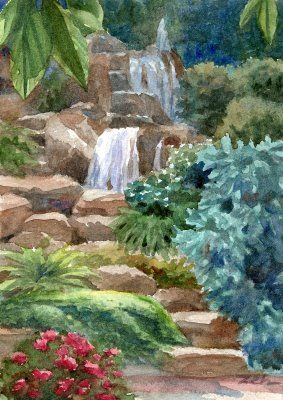 Waterfall Garden - watercolor | Garden watercolor, Waterfall .