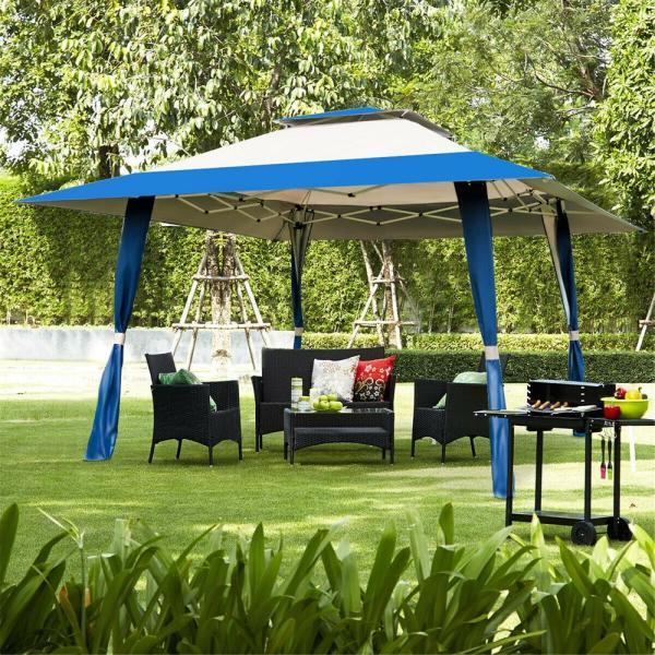 CASAINC 13 ft. x 13 ft. Blue Outdoor Folding Gazebo Canopy Shelter .