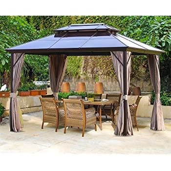 Amazon.com : Erommy 10x13ft Outdoor Double Roof Hardtop Gazebo .