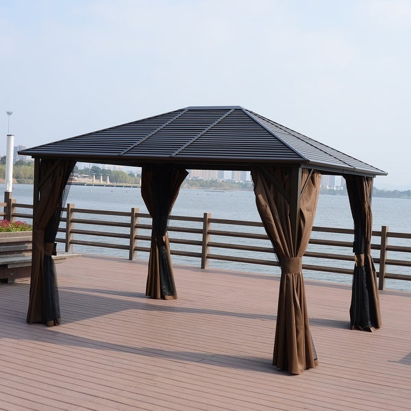 Shop Outsunny 12' x 10' Steel Hardtop Outdoor Gazebo with Curtains .