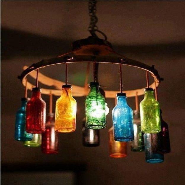 Outdoor Hanging Gazebo Lights | Bottle chandelier, Lighted wine .
