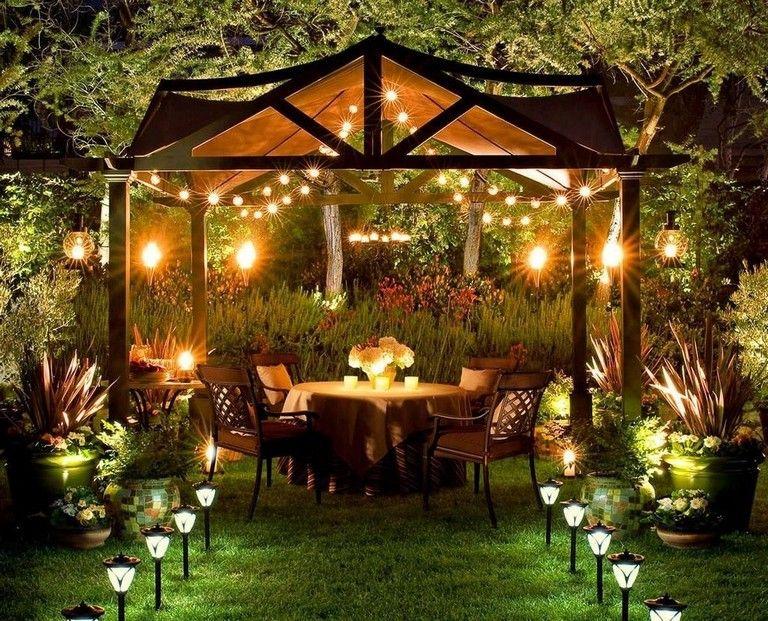 30 Smart Romantic Backyard Decoration Ideas   Solar patio lights .