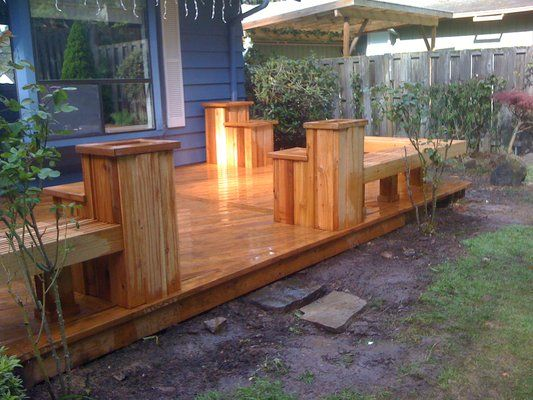 Like the bench vs a railing for a ground level deck | Garden .