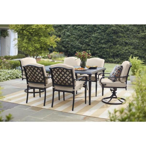 Hampton Bay Laurel Oaks 7-Piece Brown Steel Outdoor Patio Dining .
