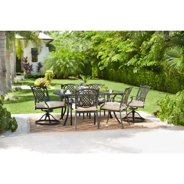 Hampton Bay Belcourt 7-Piece Metal Outdoor Dining Set with .