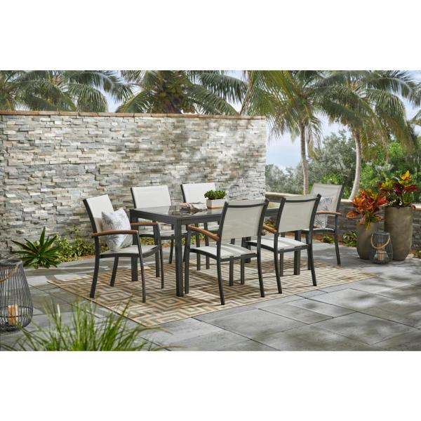 Hampton Bay Baymont 7-Piece Aluminum Patio Outdoor Patio Dining .
