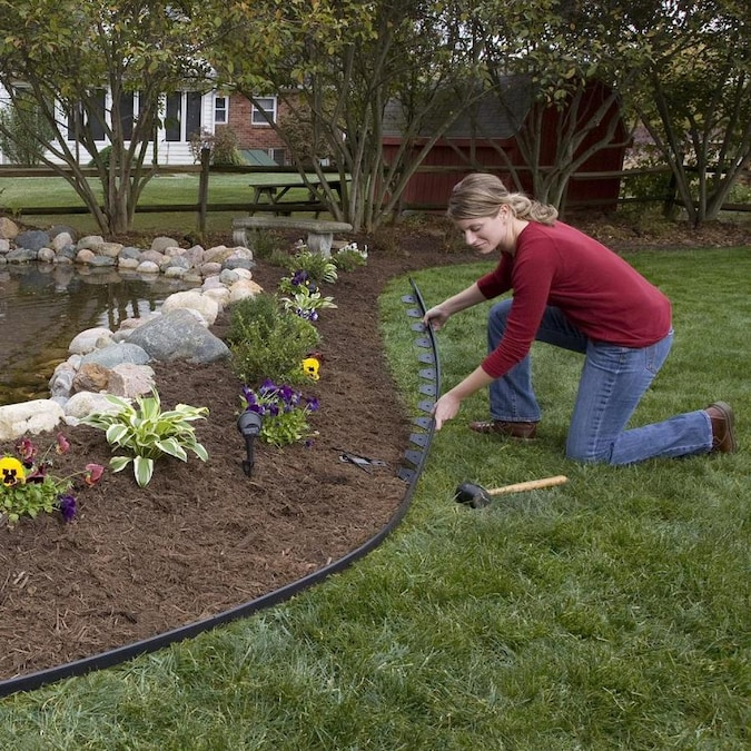 EasyFlex 100-ft Black Plastic Landscape Edging Roll in the .