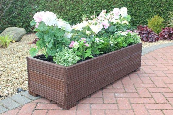 Large Wooden garden flower herb Planter / trough veg bed in .