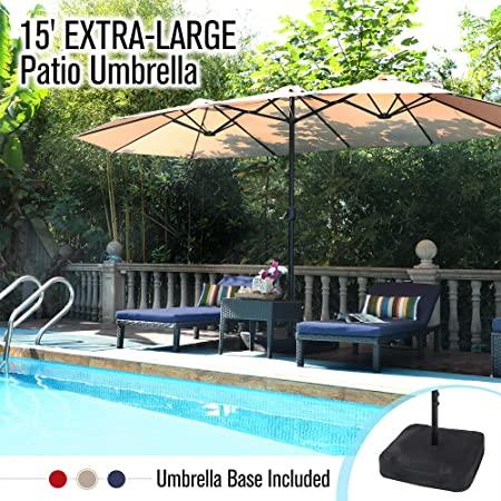 Amazon.com: PHI VILLA 15ft Double-Sided Extra Large Patio Umbrella .