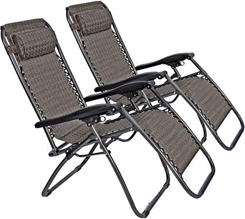 Amazon.com : LUCKYERMORE 2-Pack Zero Gravity Lawn Chairs Folding .