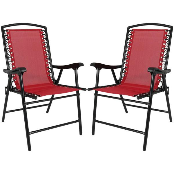 Sunnydaze Decor Red Sling Folding Beach Lawn Chairs (Set of 2)-DL .