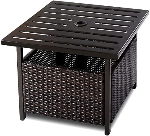 Amazon.com : Giantex Patio Rattan Wicker Umbrella Side Table Stand .