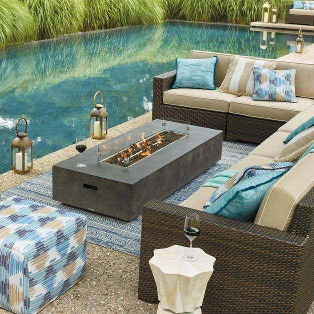 Fayette Linear Fire Table | Fire table, Luxury outdoor furniture .