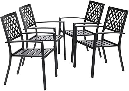 Amazon.com : MFSTUDIO Black Metal Patio Stacking Chairs Wave Back .