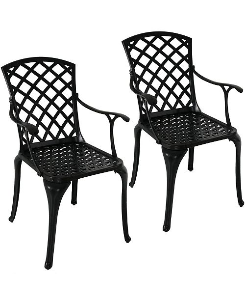 Sunnydaze Decor Outdoor Metal Dining Chair Patio Chairs Set of 2 .