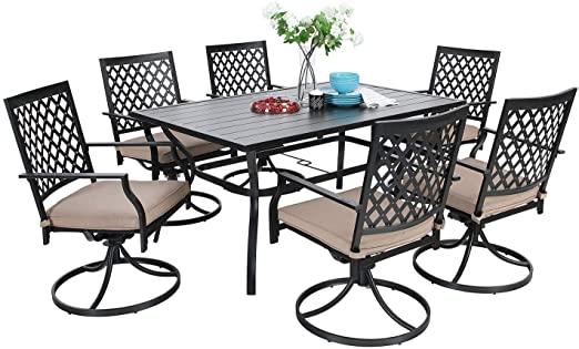 Amazon.com: MF Dining Set 7 Pieces Metal Patio Furniture Set, 6 x .