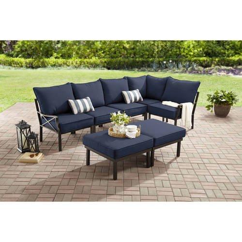 Mainstays Sandhill 7-Piece Metal Patio Furniture Sectional Set .