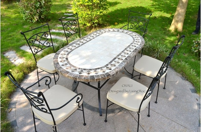 OUTDOOR DINING TABLE OVAL MARBLE MOSAIC GARDEN PATIO TABLE 71 .