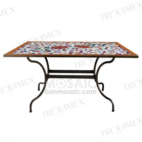 Ceramic mosaic and iron rectangle outdoor garden table -Triquim