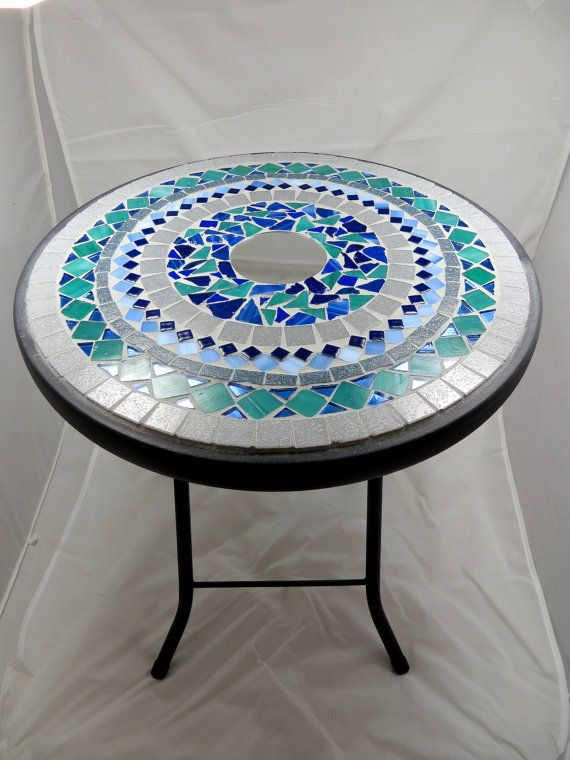 Round mosaic side table or plant stand - RESERVED FOR WENDY .