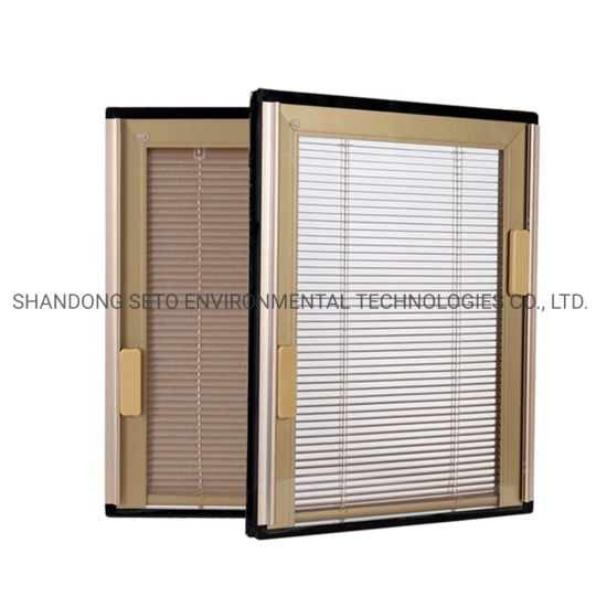 China Building Door Double Glazed Glass Office Hollow Blinds .