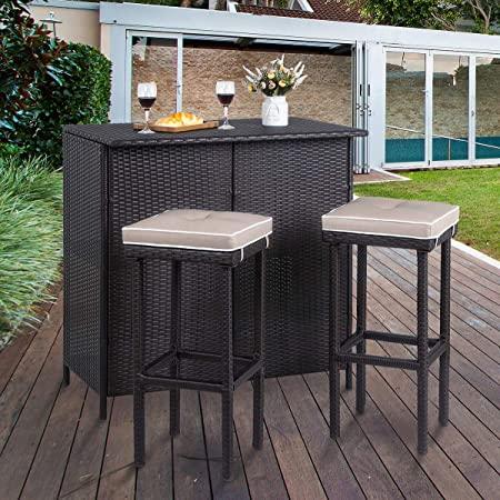 Amazon.com: Vongrasig 3 Piece Patio Bar Set, Outdoor Wicker Bar .
