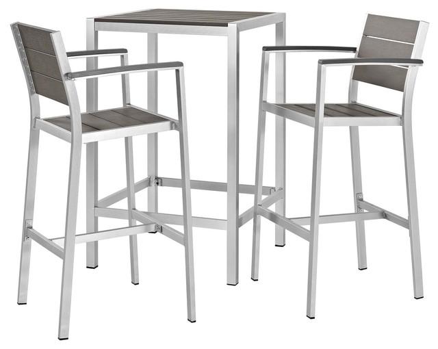 Modern Outdoor Bar Stool and Table Set, Aluminum Metal Steel, Gray .