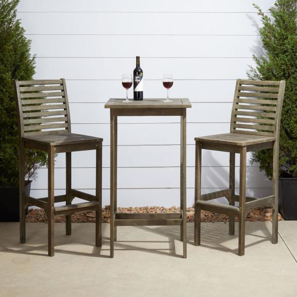 Vifah Renaissance Hand-sScraped 3-Piece Wood Square Table Outdoor .