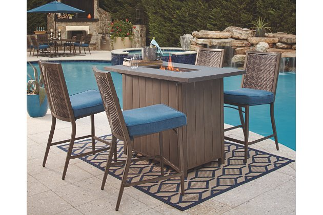 Partanna 5-Piece Outdoor Bar Table Set | Ashley Furniture HomeSto