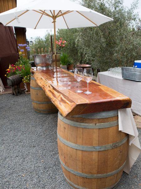 DIY outdoor bar ideas using wine barrels http://avinawinetools.com .