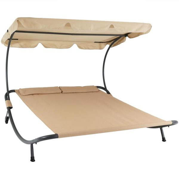 Sunnydaze Decor Sling Double Outdoor Chaise Lounge Bed with Canopy .