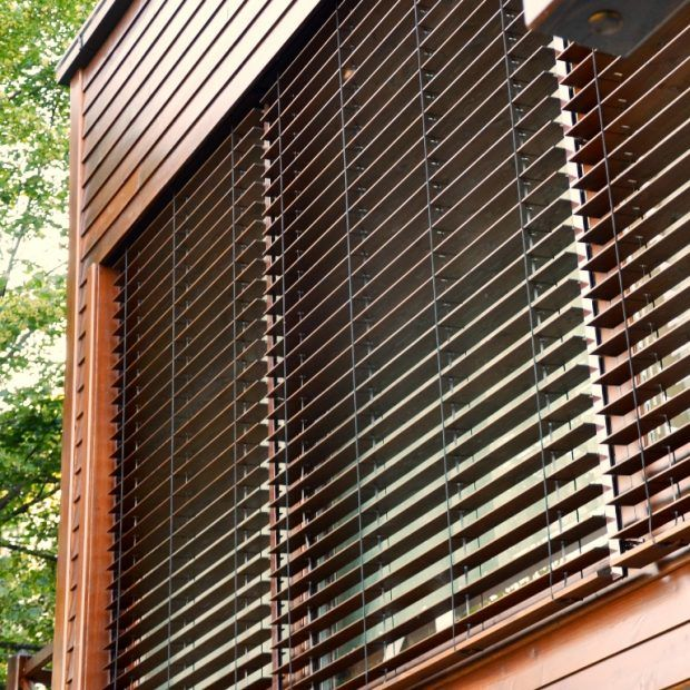 Outdoor wooden blinds | Skirpus wooden blinds and shutters factory .