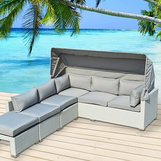 Buy Sitges 4-Pc Outdoor Patio Sofa Sectional with Canopy Set by .