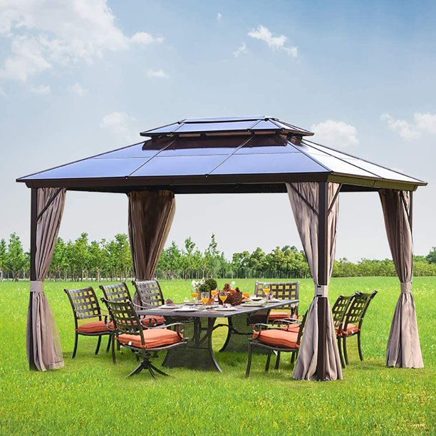 Erommy 10x13ft Outdoor Double Roof Hardtop Gazebo Canopy Curtains .