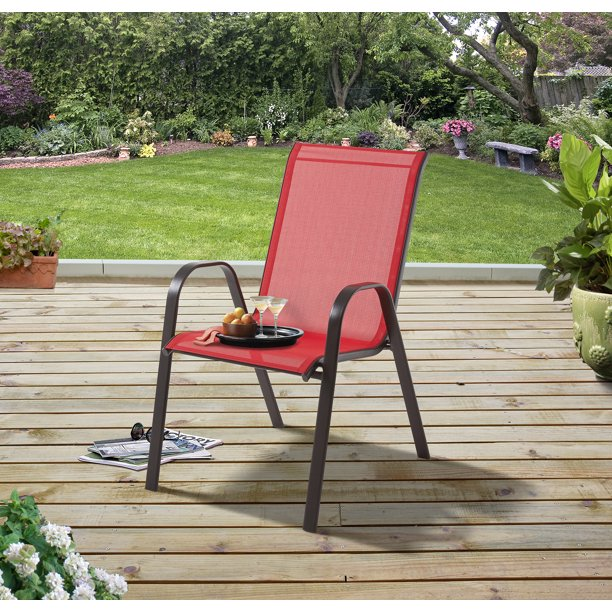 Mainstays Heritage Park Stacking Sling Outdoor Patio Chair, Red .