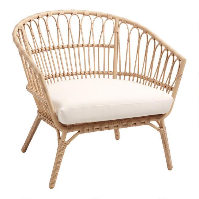 Lenco Curved Natural Wicker Outdoor Cha