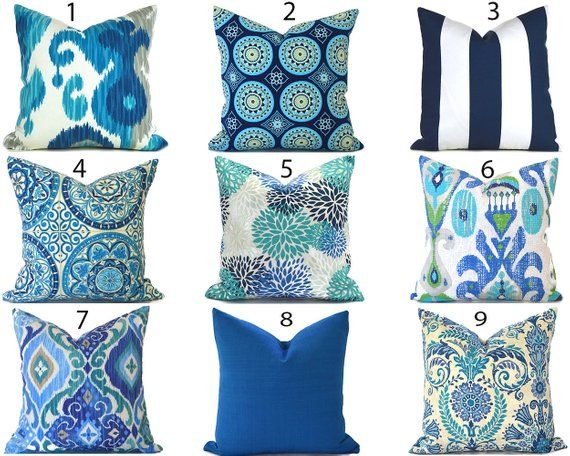 Outdoor Pillow Covers ANY SIZE Decorative Home Decor Navy Blue .