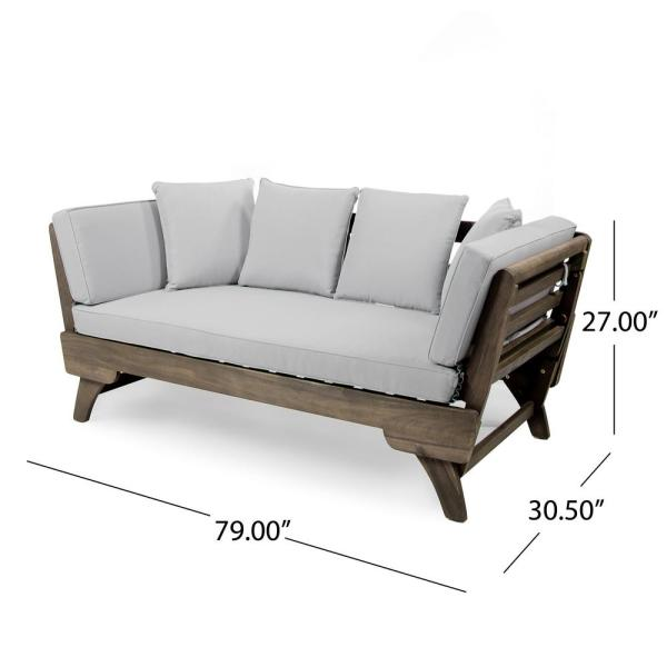 Noble House Gray Wood Outdoor Daybed with Light Gray Cushions .