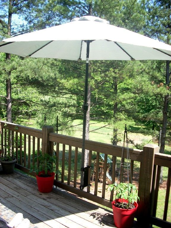 Umbrella mount for deck!! | Patio, Patio umbrellas, Patio umbrel