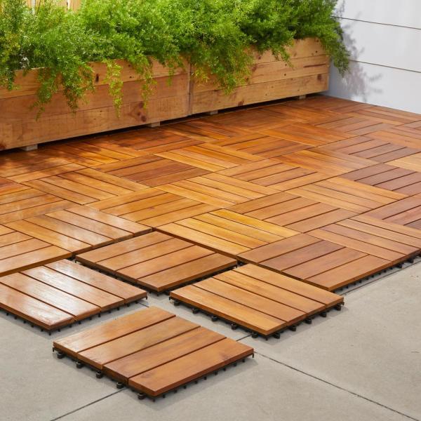 Vifah Roch 4-slat 12 in. x 12 in. Wood Outdoor Balcony Deck Tile .