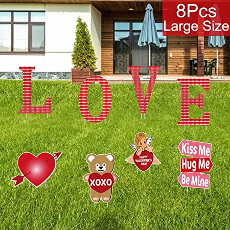 Amazon.com : Partyprops 8 PCS Valentines Yard Signs with Stakes .
