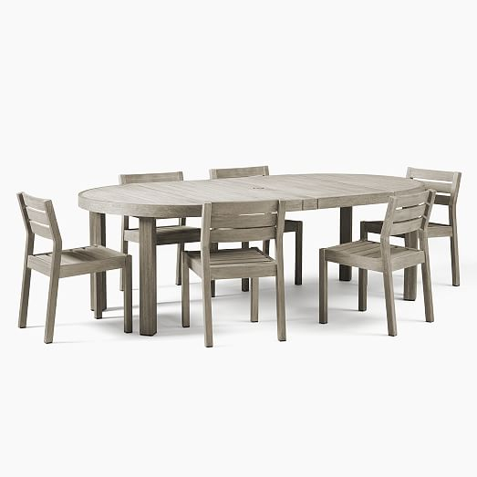 Portside Outdoor Expandable Round Dining Table & 6 Solid Wood .