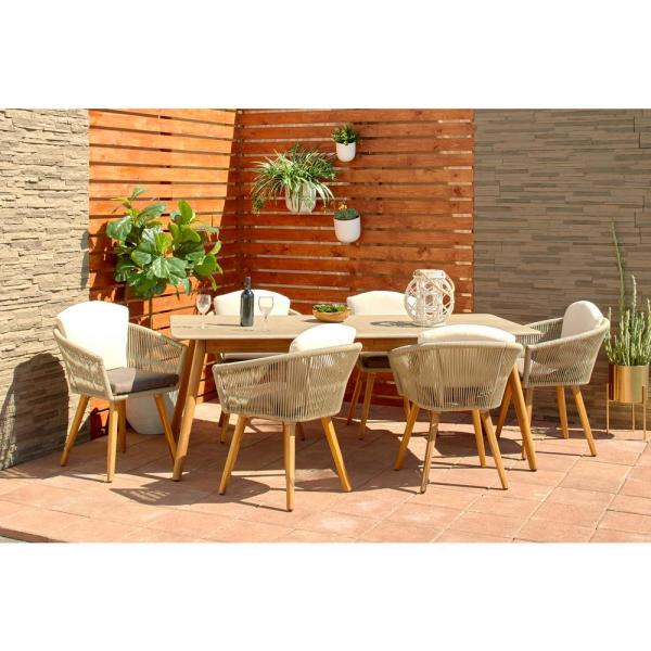 Litton Lane Rectangular Gray Concrete Outdoor Dining Table with .