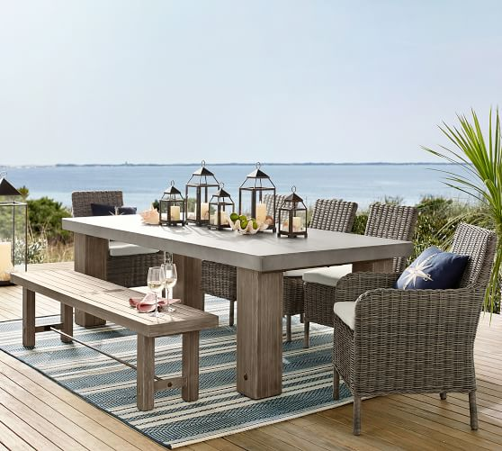 "Abbott Concrete & FSC® Acacia Chunky Leg 96"" Dining Table, Gray ."