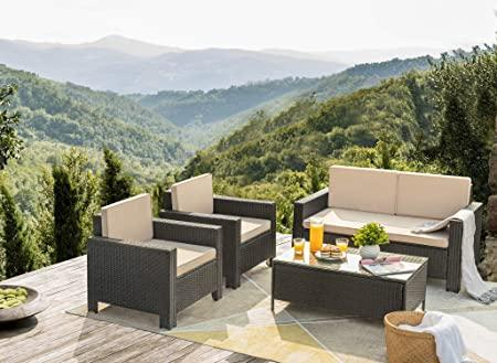 Amazon.com: Flamaker 4 Pieces Patio Furniture Set Outdoor .