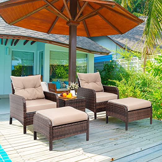 Amazon.com: Vongrasig 5 Piece Wicker Patio Furniture Set, PE .