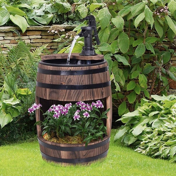 Shop Outsunny Barrel Water Fountain Wood Metal Rustic Outdoor .